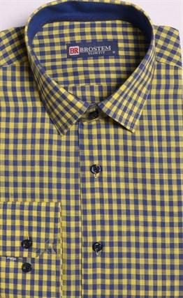 Большая желтая рубашка со льном 8LG9-3g BROSTEM - фото 10141