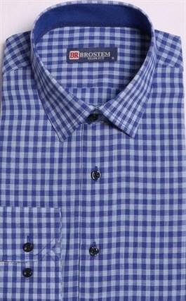 Большая клетчатая рубашка со льном 8LG9-4g BROSTEM - фото 10143