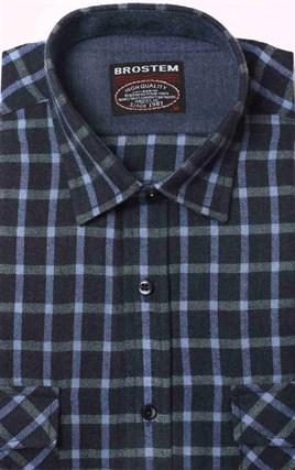 Полуприталенная фланелевая рубашка с шерстью KA9L5-5 - фото 10362