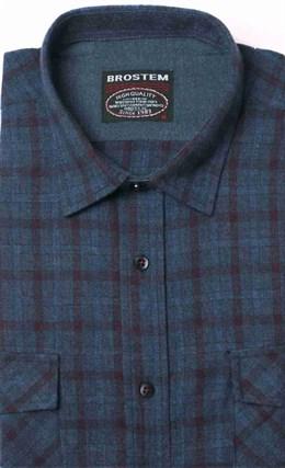 Полуприталенная фланелевая рубашка с шерстью KA9L5-7 - фото 10368
