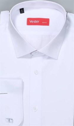 Жаккардовая белая рубашка VESTER 70714-14-60 - фото 11095