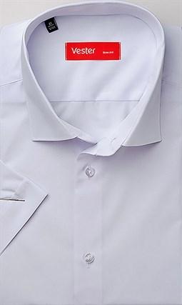 Прямая белая рубашка с коротким рукавом VESTER 72914-14-66 - фото 11149