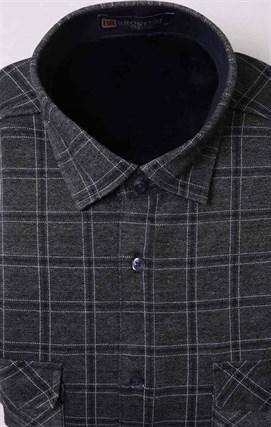 Утепленная флисом серая рубашка BROSTEM MS2A1-95 в клетку - фото 11399