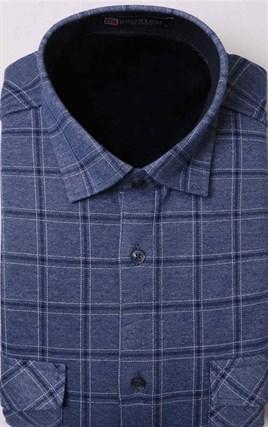Утепленная флисом голубая рубашка BROSTEM MS2A1-62 в клетку - фото 11401