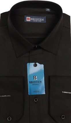 Полуприталенная сорочка черная BROSTEM 4715A - фото 5430