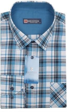 Мужская рубашка р.L лен/хлопок LN141-Z Brostem приталенная - фото 6886