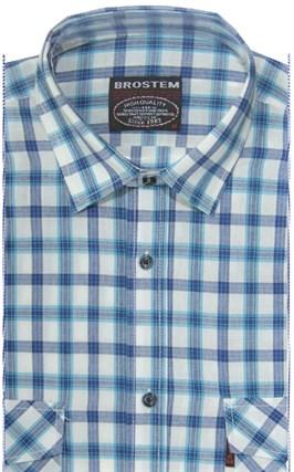 Хлопковая мужская рубашка в клетку классического силуэта SH793 BROSTEM - фото 8913