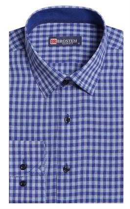 Полуприталенная лен с хлопком мужская рубашка BROSTEM 8LBR9-2-pp - фото 8928