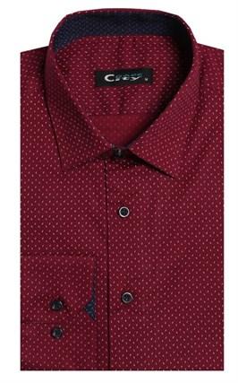 Приталенная стрейч хлопок мужская рубашка 8LCR24-3-pp CITY RACE BROSTEM - фото 8972