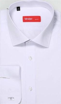 На высоких жаккардовая белая рубашка VESTER 707142-01 - фото 9580