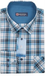 Мужская рубашка р.L лен/хлопок LN141-Z Brostem приталенная