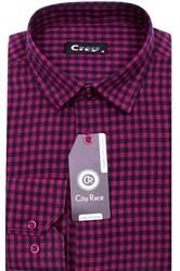 Приталенная мужская рубашка кашемир City Race KAC15028E