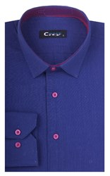 Полуприталенная лен с хлопком мужская рубашка 8LCR8-2-pp CITY RACE BROSTEM