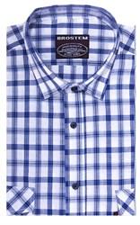 Хлопковая мужская рубашка в клетку классического силуэта SH778 BROSTEM