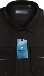 Приталенная черная сорочка BROSTEM 4715A **